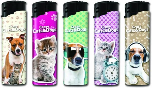 B!FLAME Premium Feuerzeug Laser Crazy Cats & Dogs