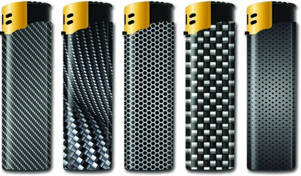 B!FLAME Premium Feuerzeug Laser Carbon