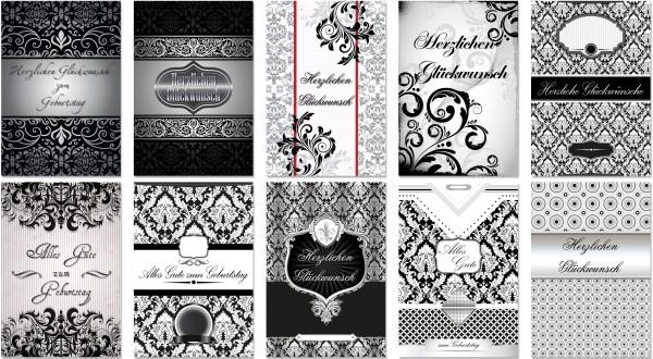 QlovesD Geburtstagskarte Schwarz/Weiß