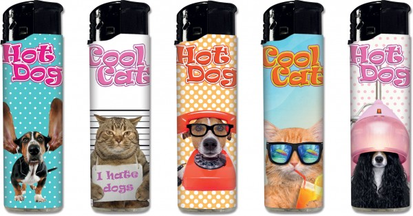 "B!FLAME Premium-Feuerzeug ""Cool Cats & Hot Dogs"""