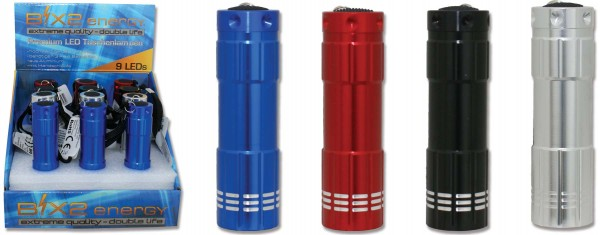 B!X2energy 9er Premium LED-Taschenlampe Metallic