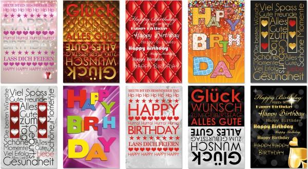 QlovesD Geburtstagskarte Schriftarten