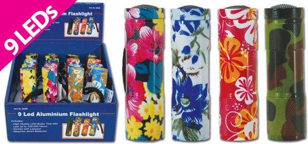 9er Premium LED-Taschenlampe bunt