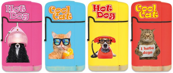 B!FLAME Soft-Feuerzeug Jet-Flame Cool Cats & Hot Dogs