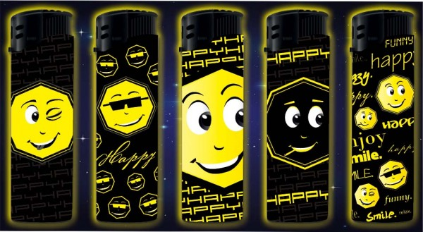 B!FLAME Premium Feuerzeug Happy Glow in the Dark