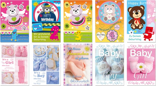QlovesD Geburtstagskarte Kindergeburtstag 1-5 J./Geburt