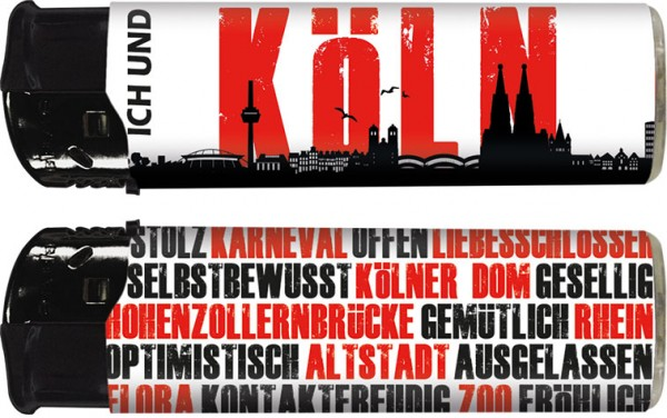 """B!FLAME Premium+ Motiv-Feuerzeug """"Ich und... Köln"""""""