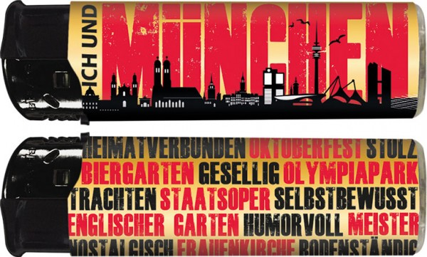 """B!FLAME Premium+ Motiv-Feuerzeug """"Ich und... München"""""""