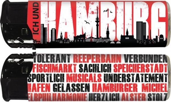 """B!FLAME Premium+ Motiv-Feuerzeug """"Ich und... Hamburg"""""""